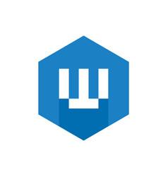 alphabet w logo blue hexagonal symbol vector image