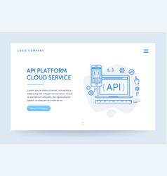 api platform web banner blue flat vector image