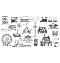 attractions in park water slide ferris wheel icon vector image