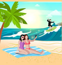 beach vacation holidays composition vector image