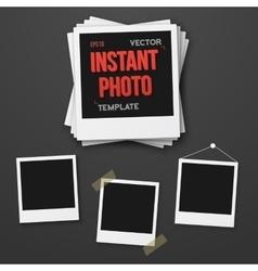 Blank Vintage Instant Photo Frame Mockup Set vector image