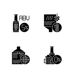 Brewery black glyph icons set on white space vector