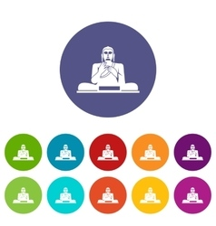 Buddha statue set icons vector