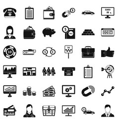 Business work icons set simple style vector