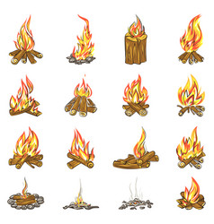 Campfire icons set cartoon style vector