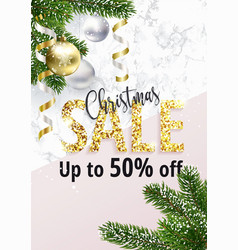 Christmas sale banner marble and gold vector
