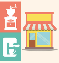 Coffee shop machine maker image vector