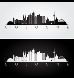 cologne skyline and landmarks silhouette vector image