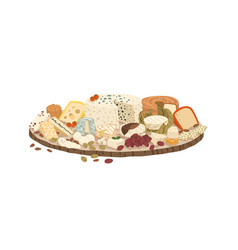 Composition various cheeses on plate vector