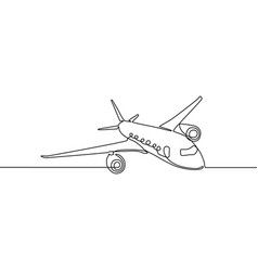 continuous line airplane travel and tourism vector image