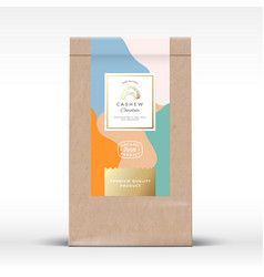 craft paper bag with cashew chocolate label vector image