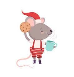 Cute mouse in red santa hat with cup tea and vector