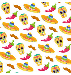 day dead skull masks with mexican hats vector image