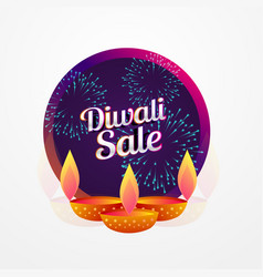 Diwali festival sale poster design with diya and vector