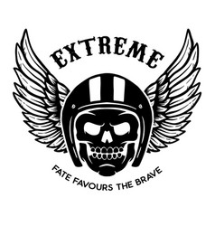 extreme winged skull on black background design vector image