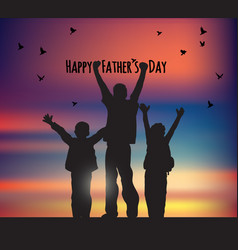 Fathers day children birds and sky greeting card vector