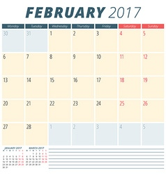 February 2017 Calendar Planner for 2017 Year Week vector image