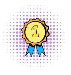 First place rosette icon comics style vector