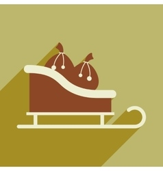 Flat icon with long shadow sleigh gifts vector
