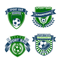 Football sport bar icons of soccer balls vector