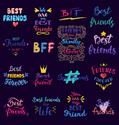 friend lettering bff friendship card vector image