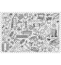 gardening doodle set vector image