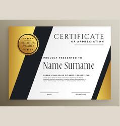 Golden geometric multipurpose premium certificate vector