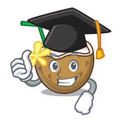 Graduation cocktail coconut character cartoon vector