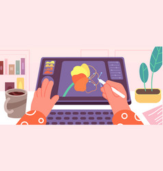 Graphic designer working artist animation doing vector
