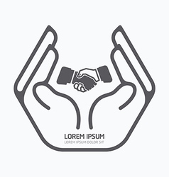 Hand holding business logo design safety care vector