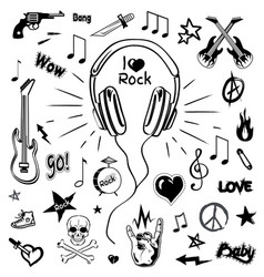 headphones and electric guitar sketches icons vector image