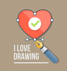 Heart and pen icon in flat style vector