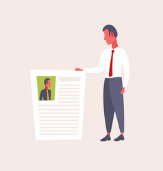 hr man holding cv form choosing resume new job vector image