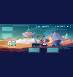 Infographic space mining on mars vector