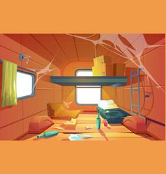 interior poor dirty room in camping van vector image