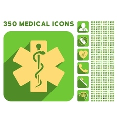 Life Star Icon and Medical Longshadow Icon Set vector image
