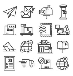 line post service icons set on white vector image