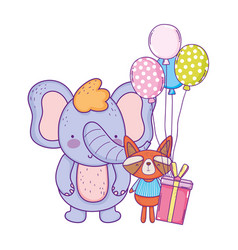 little raccoon and elephant with balloons helium vector image