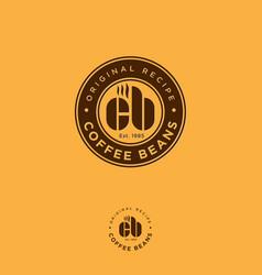 Logo coffee bean cafe c and b monogram vector