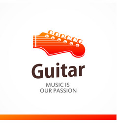 logo with peg head of guitar vector image