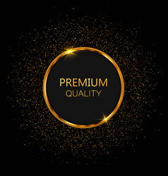 luxury golden round frame vector image