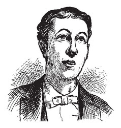 Man with bow tie expressing hope vintage engraving vector
