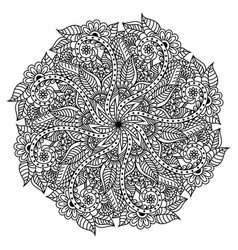 mandala hand drawn backdrop for coloring vector image