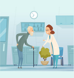 medicine for elderly geriatrics old man and vector image