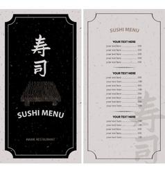 menu with hieroglyph sushi vector image