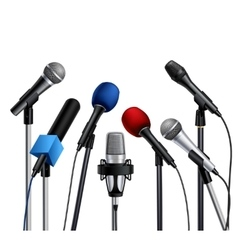 Microphones Press Conference Set vector image