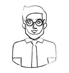 Monochrome blurred contour with half body of man vector