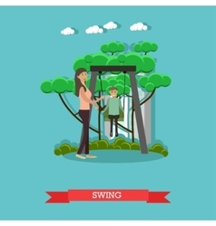 Mother swinging her son in vector
