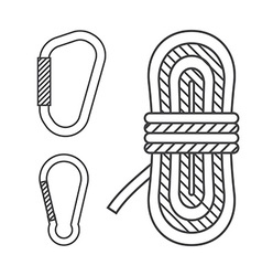 Mountaineering outline icons climbing rope vector