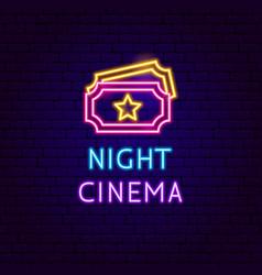 night cinema neon label vector image